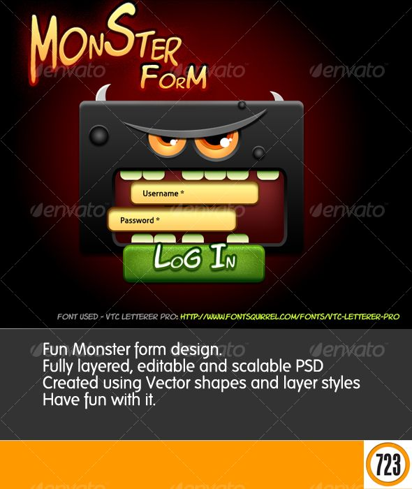 Thinking outside of the form  Fun monster face eating login