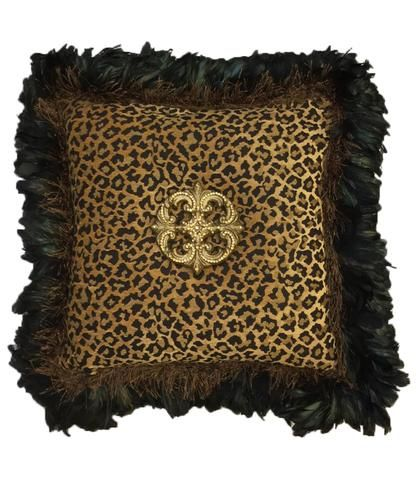 Leopard Chenille Square Accent Pillow With Feathers And Jeweled Simple Jeweled Decorative Pillows