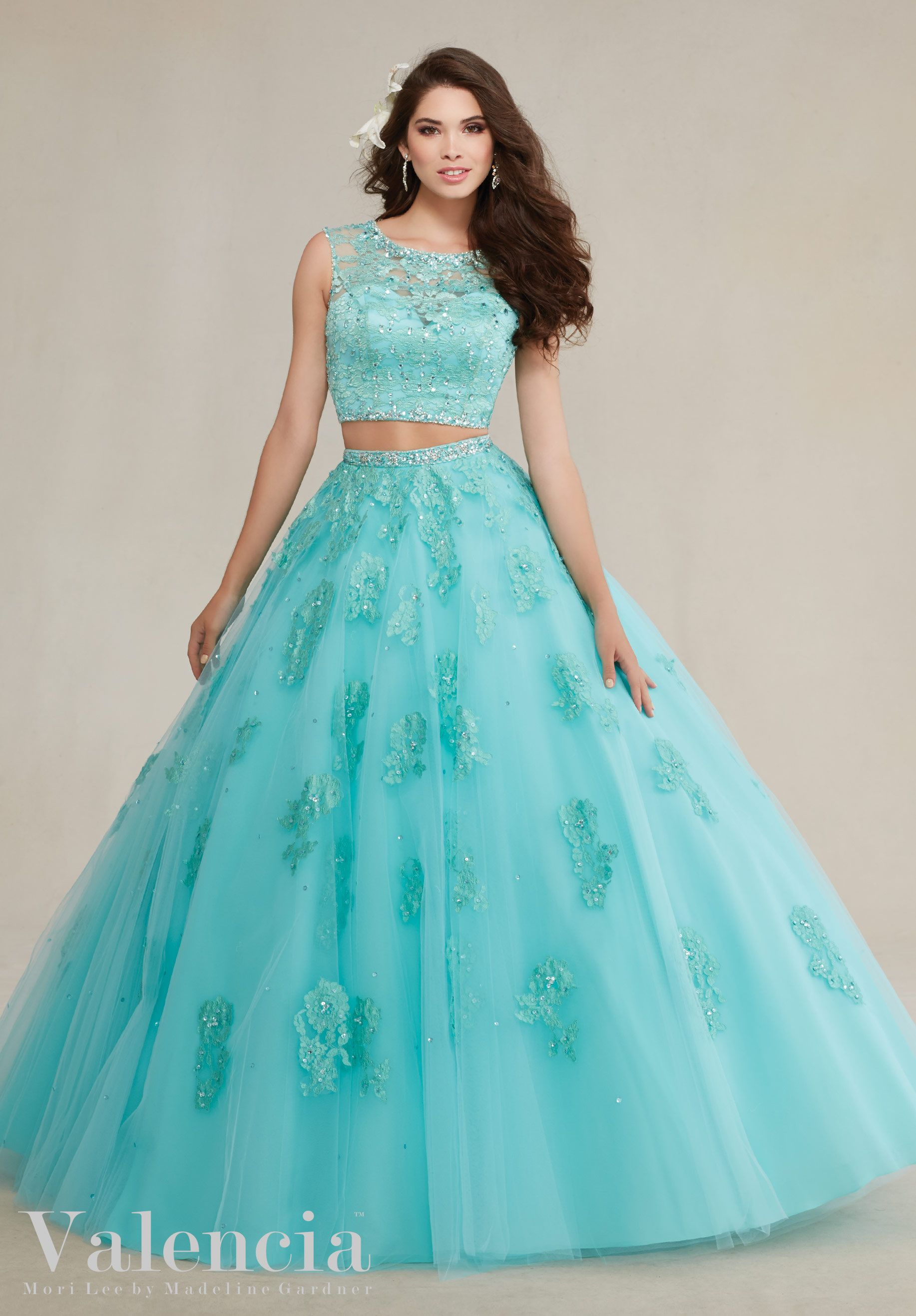 Quinceanera Dresses by Morilee designed by Madeline Gardner. Two-Piece Tulle  Ball Dress with Beaded Lace Appliqu̩s Quinceanera Dress 49a5fa79da15