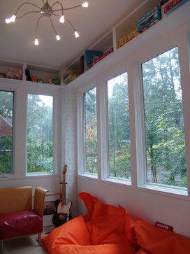 Display Shelf Around Top Of Room Design