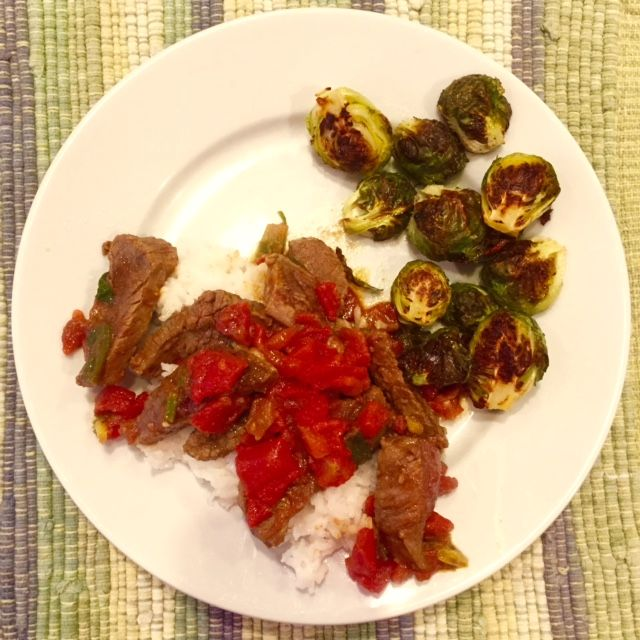Pronto Pup: Quick Curried Beef with Roasted Brussels Sprouts