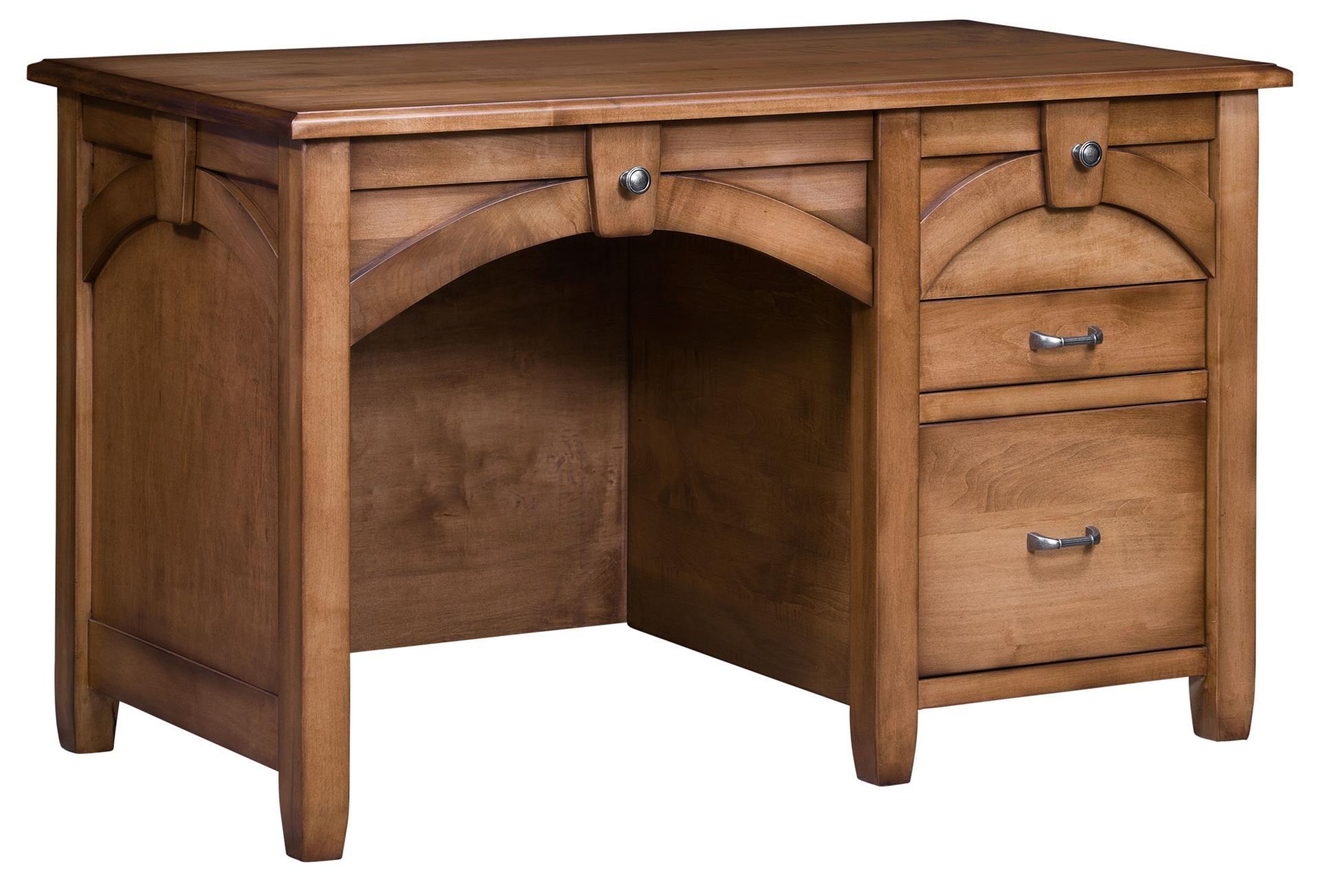 Amish Kensing Single Pedestal Desk Solid Wood Office Furniture