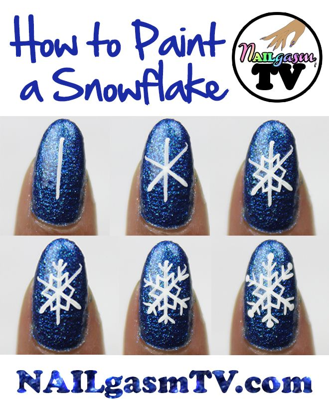 "nailgasmtv: "" How to paint a snowflake. WATCH a video tutorial here. """