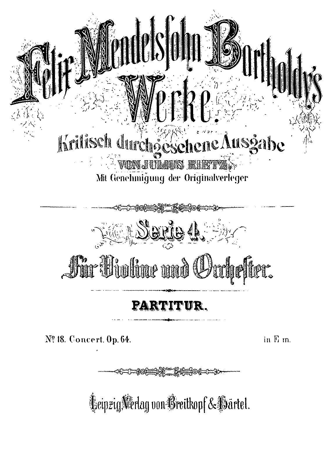 Violin Concerto, Op 64 (Mendelssohn, Felix) - IMSLP/Petrucci