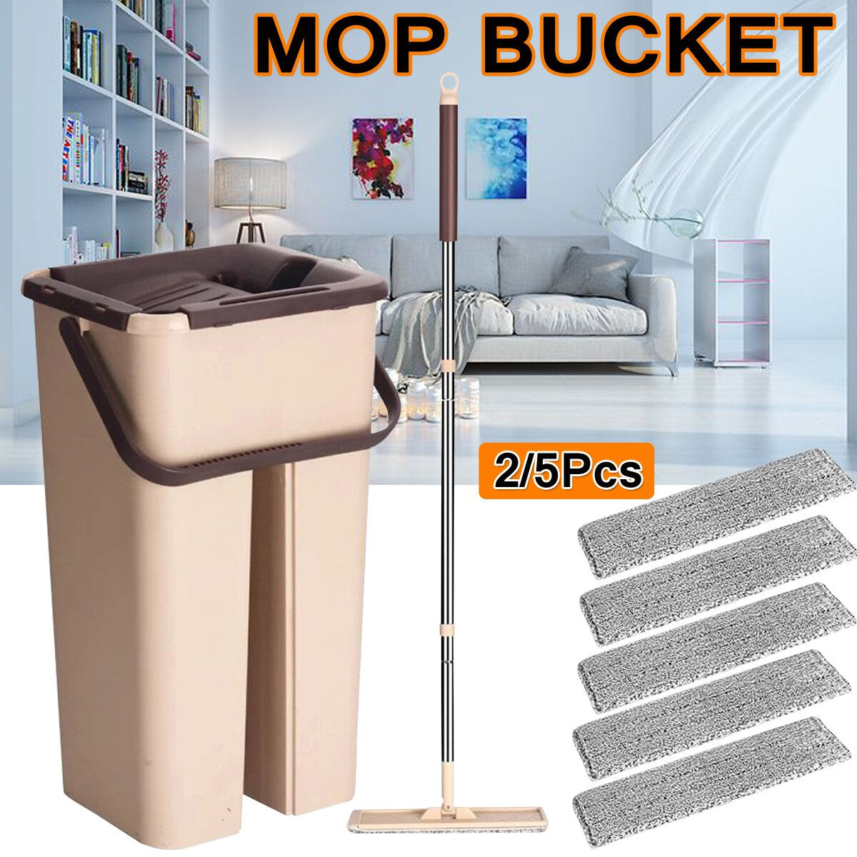 Self Cleaning Drying Wringing Mop Bucket Flat Floor Free Hand Wash Mop Wet Dry Floor Cleaner Cleaning Mops Mops