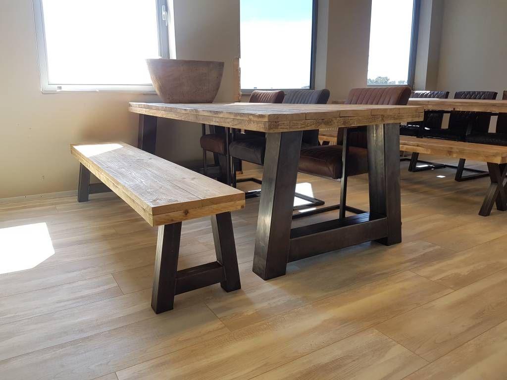 Bankje passend bij eettafel a frame firma hout staal