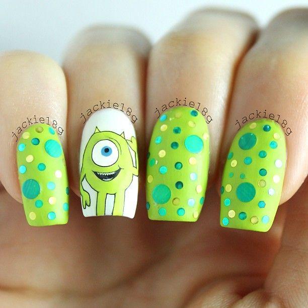 Monsters inc nails Más | Uñas | Pinterest | Diseños de uñas, Uña ...