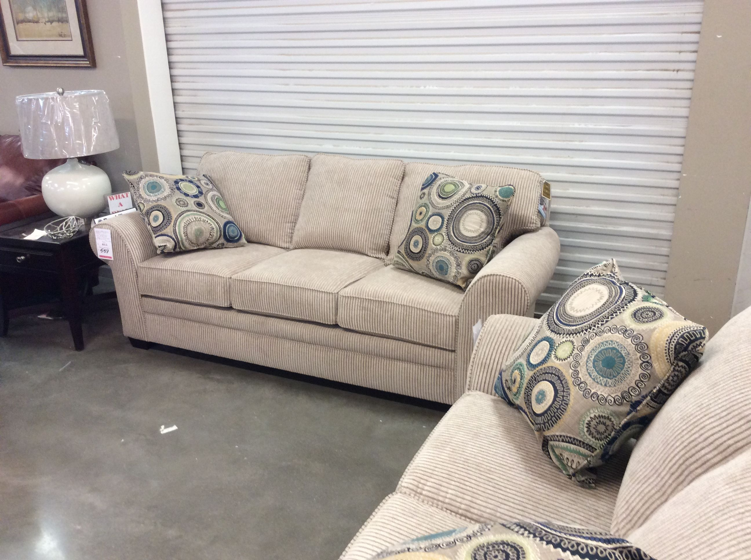 "The Broyhill ""Zachery"" sofa and love seat in a soft corduroy"