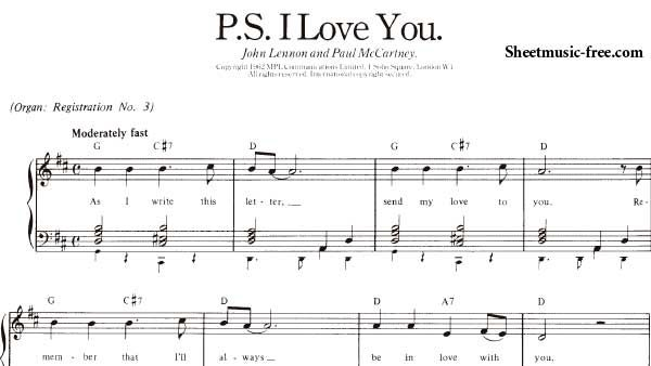 P S I Love You Sheet Music Beatles With Images Beatles Sheet