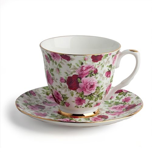 """Teacup and Saucer Set, Deep Rose A fine English Bone China teacup and saucer set made of genuine bone china and embellished with a rich assortment of pink roses. @Amanda Snelson Dittlinger 'bout as """"tea"""" as you can get. ;-P"""
