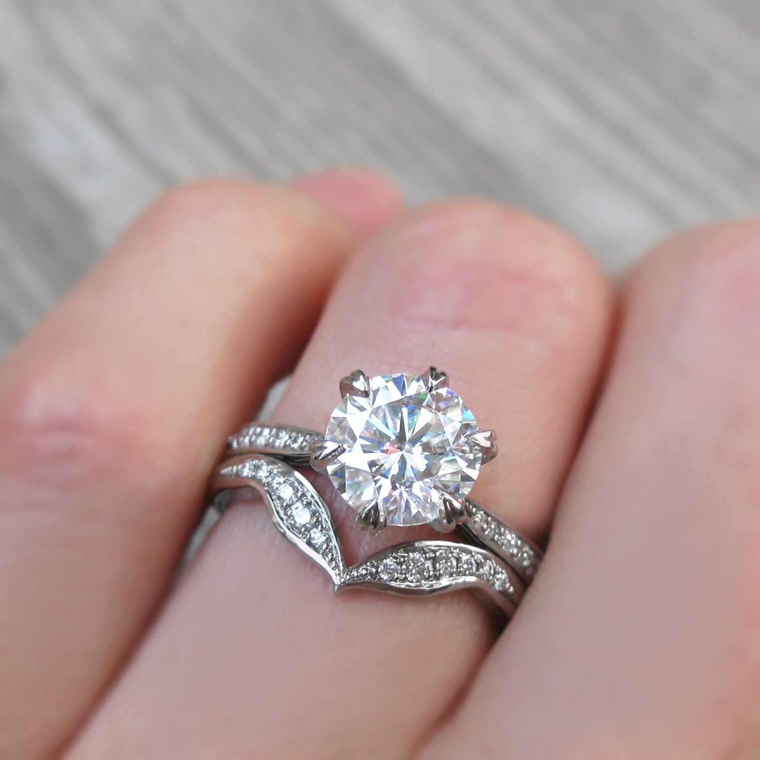 CAMILLE・ Moissanite, Diamond Band (1.5ct Center) | Wedding Rings ...