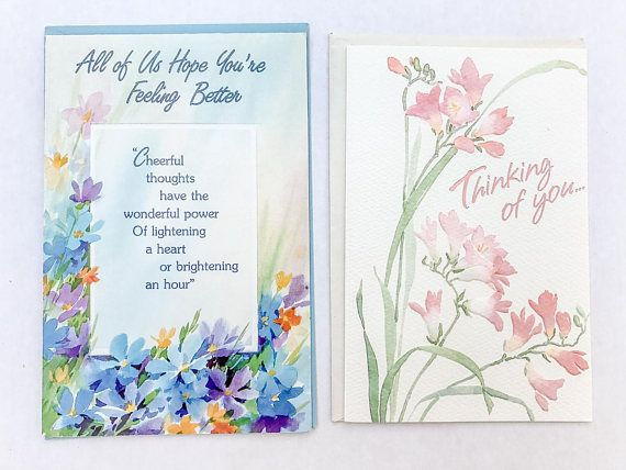 Vintage get well soon card thinking of you card set set of 2 2 vintage greeting cards get well soon and thinking of you all are unused m4hsunfo