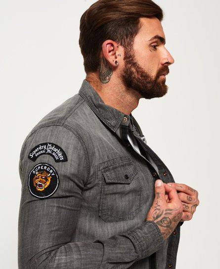 fdff6fa29f Superdry Dragway Patch Denim Long Sleeve Shirt