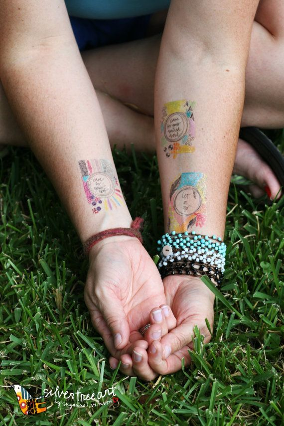 let it go temporary tattoo set of two by silvertreeart on Etsy