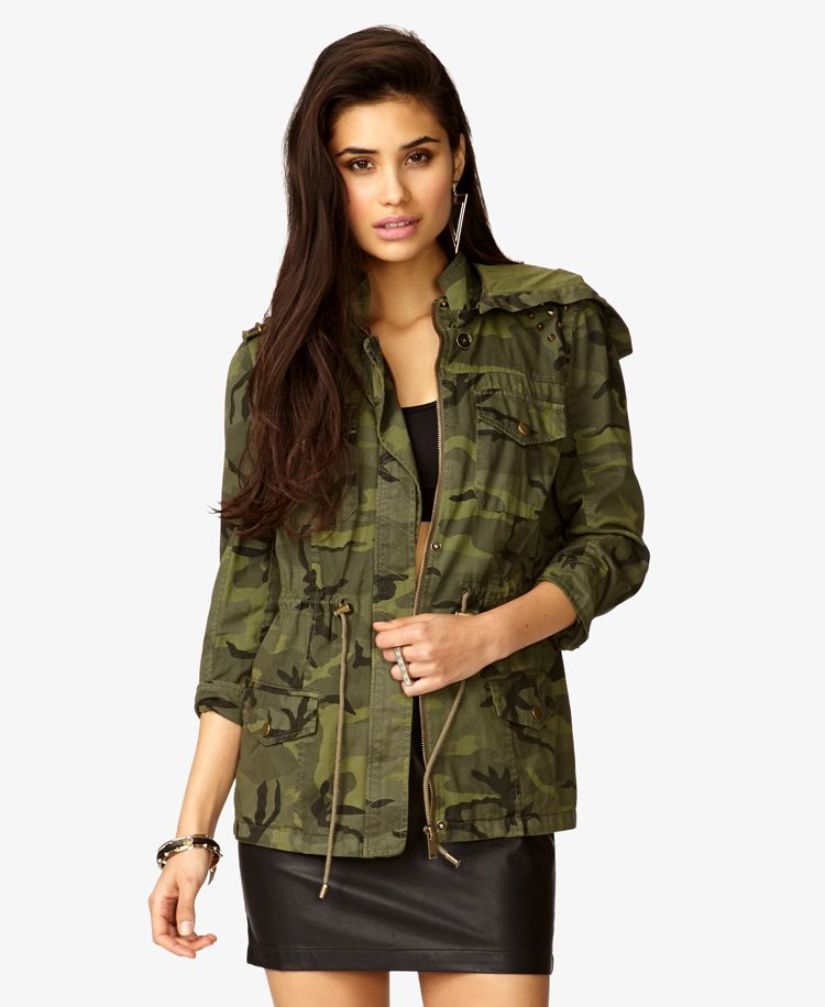 Hooded Spiked Camo Jacket | FOREVER21 2026608297 | Camo
