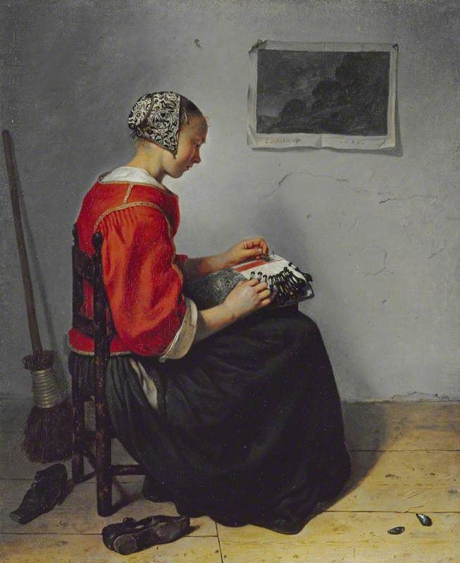 Caspar Netscher, The Lace Maker, c. 1660.