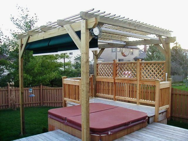 Deck Privacy Wall | Pergola Over Hot Tub/Privacy Fence   Accessories Photo  Gallery .