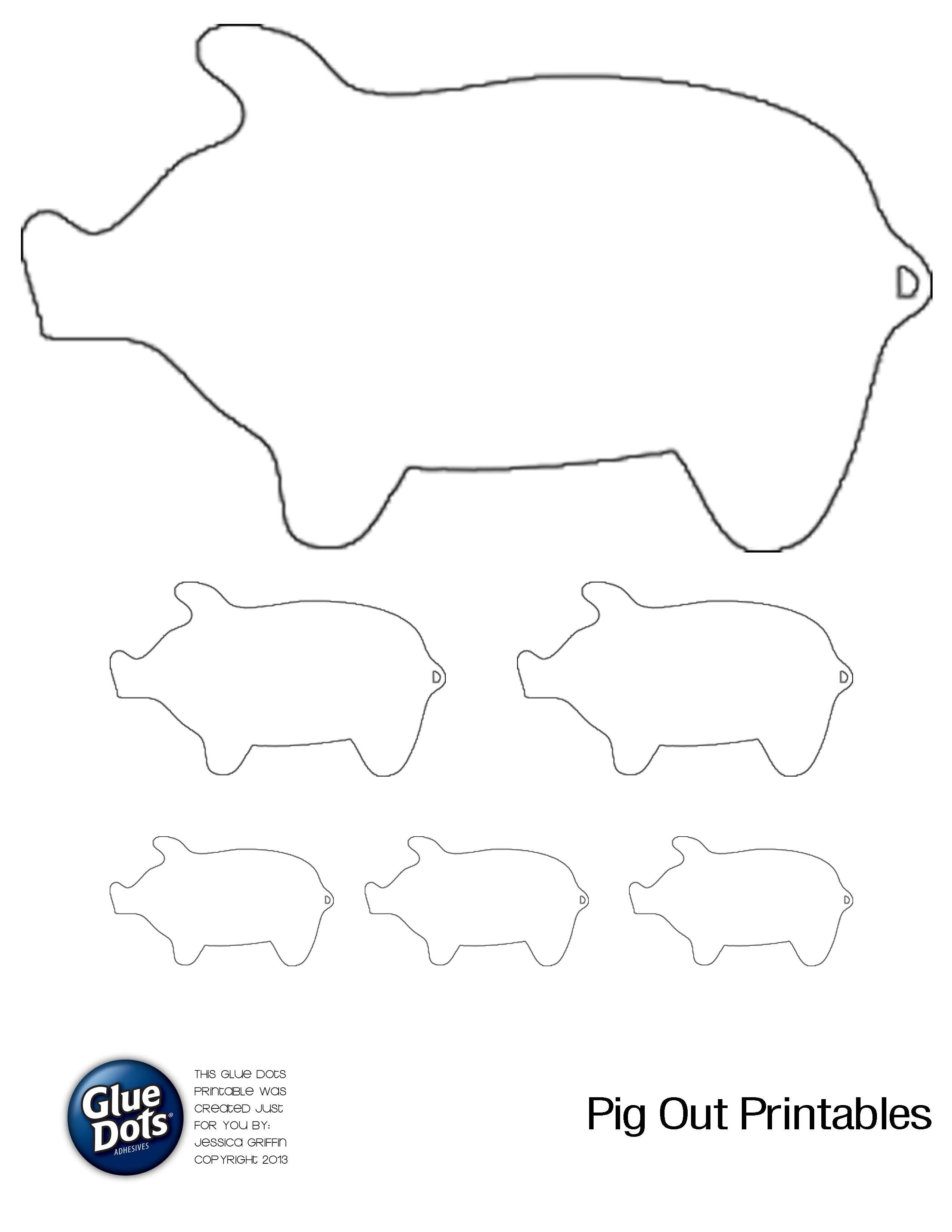 Free Pig Shape Printables for #GlueDots