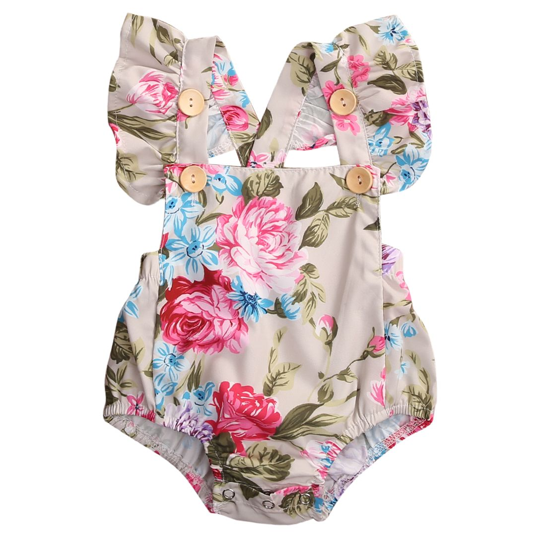f85dcaa3df85 Click to Buy    Summer Floral Newborn Baby Girl Clothes Floral ...