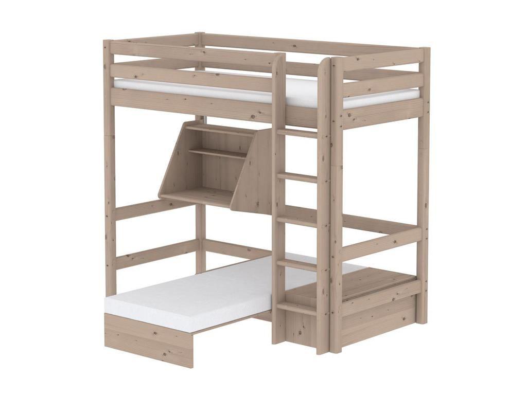 Wohnwagen Dreifach Etagenbett : Hochbett casa mit gästebett schreibtisch gerader leiter 90x190cm