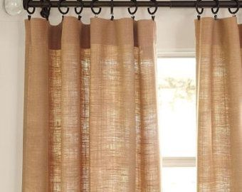 Captivating Burlap Curtains Burlap Panels Valance 45 Width Choose