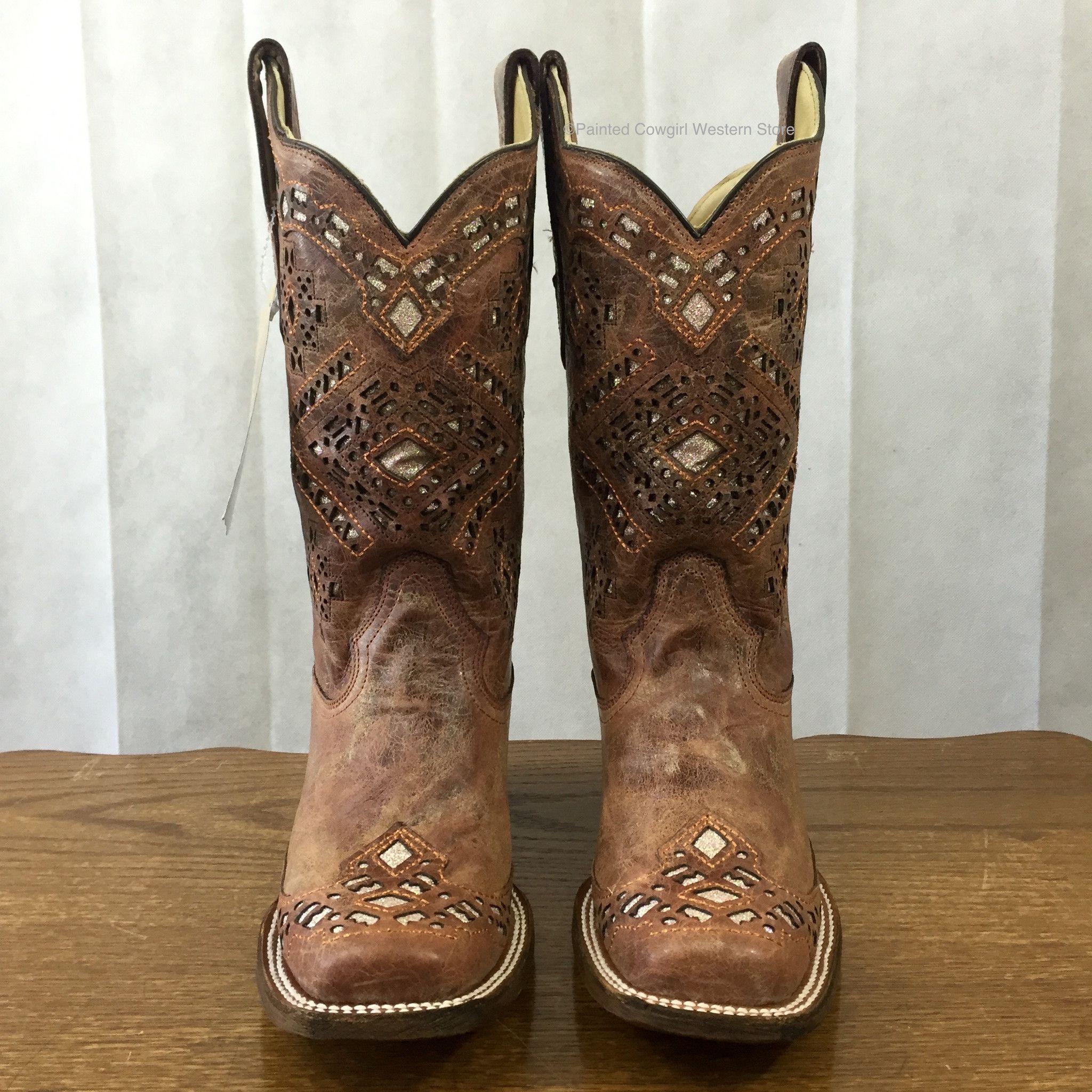 corral s brown glitter square toe boots