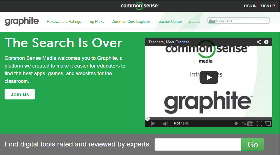 Graphite is a free service from Common Sense Media that