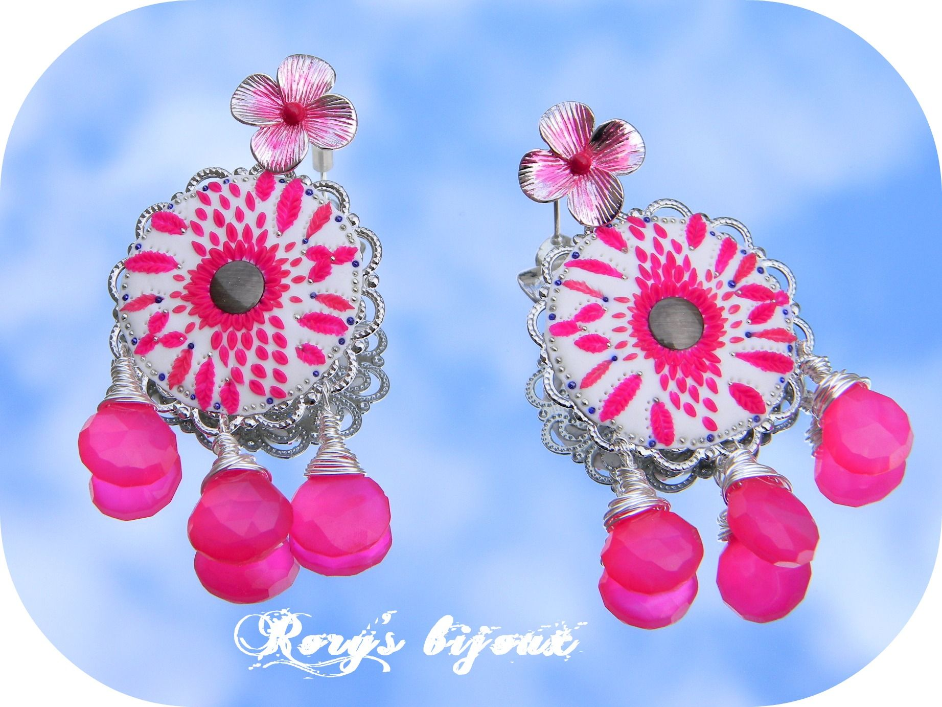 Hot Pink Chandelier polymer clay Pinterest