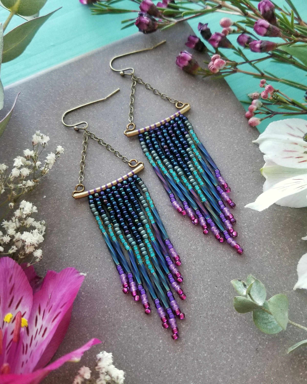 Beaded chevron fringe earrings metallic navy teal