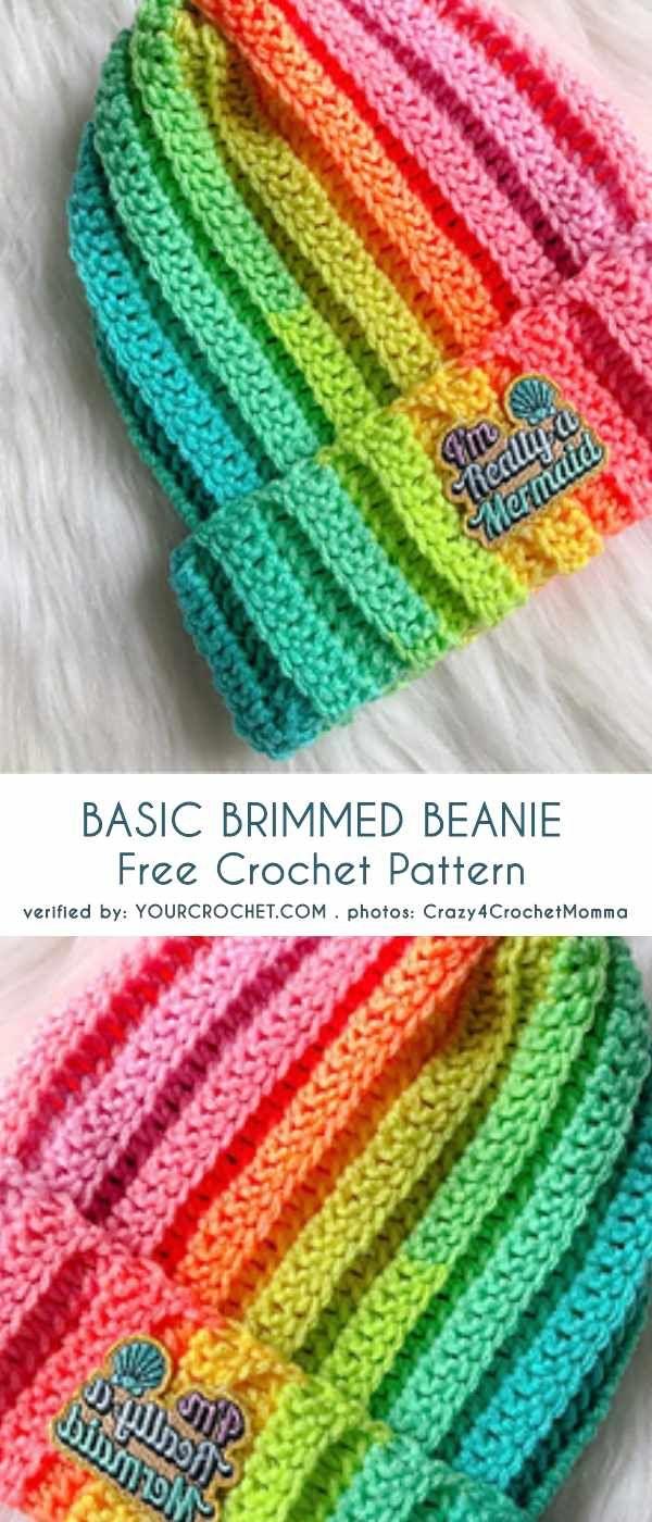 Basic Brimmed Beanie Hat Free Crochet Pattern A Print Pinterest