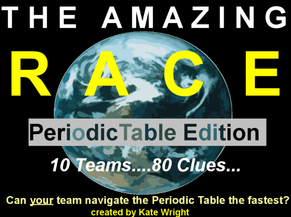 Periodic table amazing element race game chemistry 101 pinterest periodic table review game activity for the whole class divide kids into 10 teams urtaz Image collections