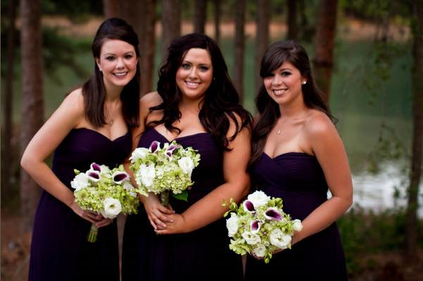 bridesmaid's bouquets - hydrangea, lisianthus, orchids and vermeer callas