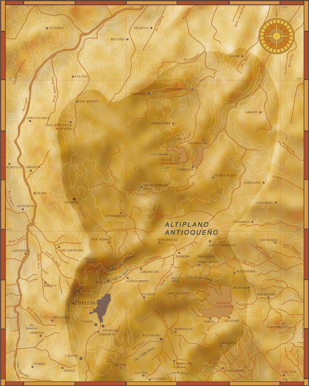 Mapa altiplanos Antioquia