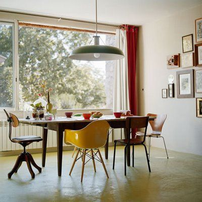 Loving Mismatched Chairs Around Huge Dining Table; Love The Style Of Yellow  Chair.