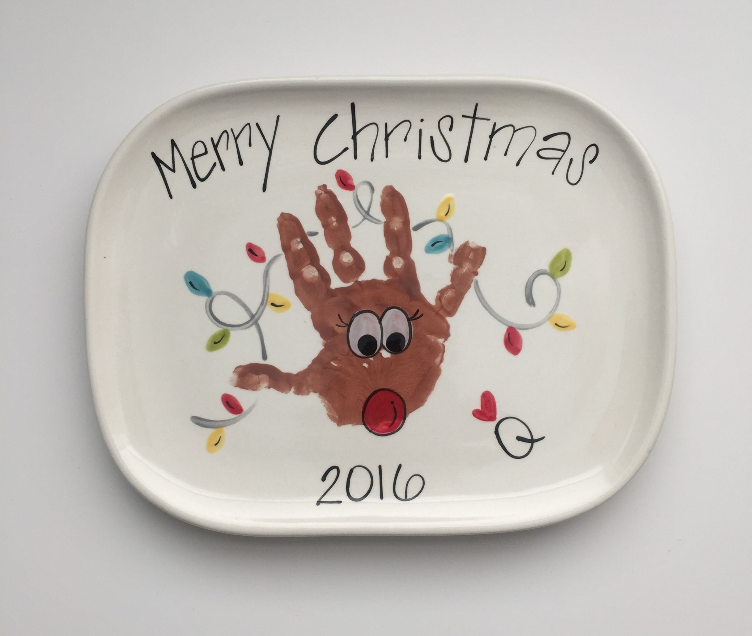 Reindeer hand print Christmas plate with Lights Small squircle