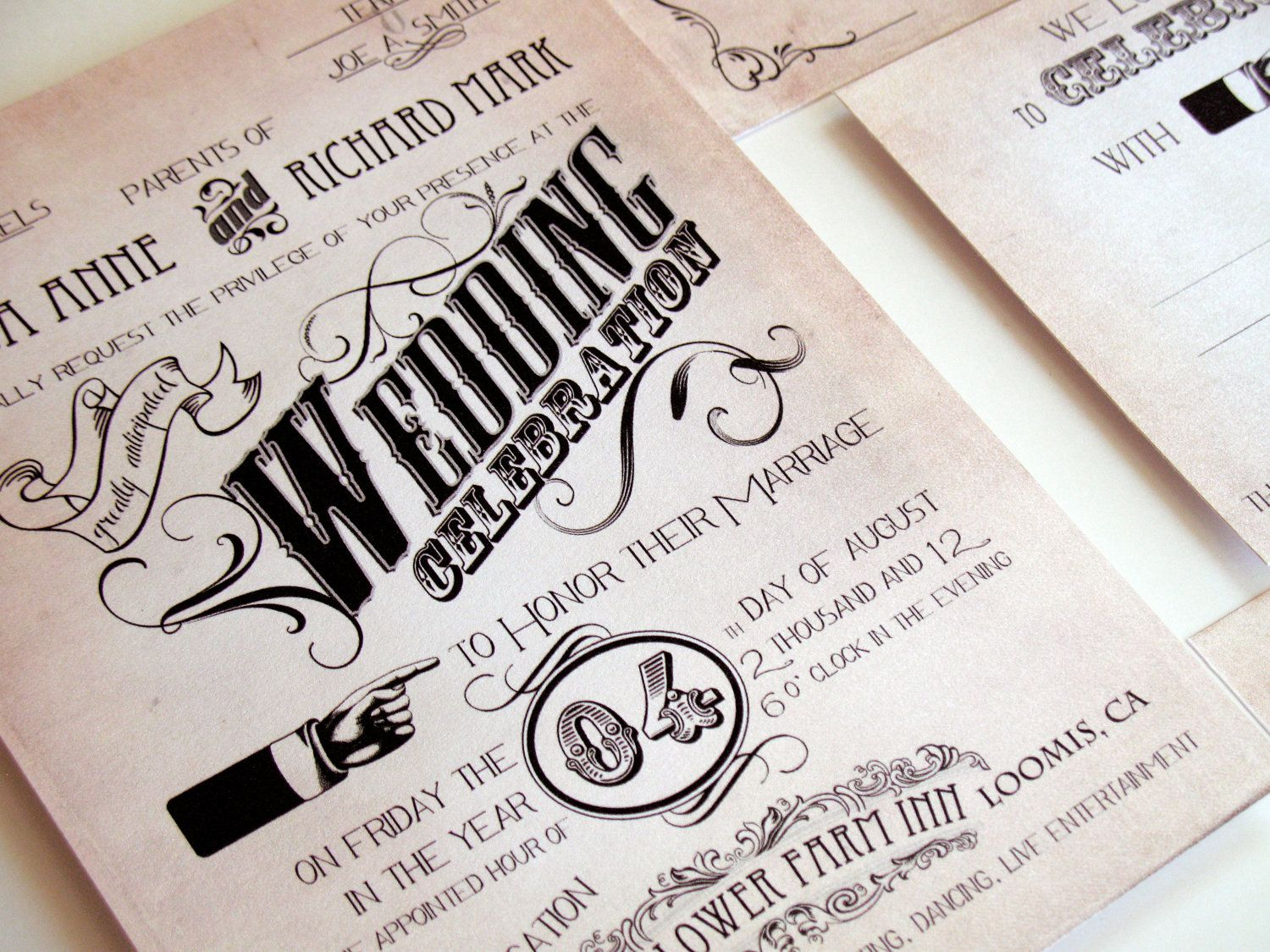 Funky Vintage Invitation Set  Retro Manifesto Wedding Invitations