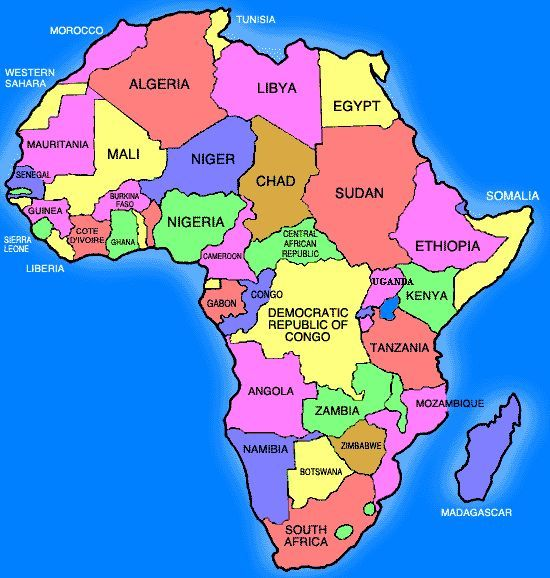 simple africa map with country names google sà k barneklubb