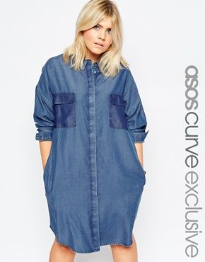 ab0fcbc0273 ASOS CURVE Oversized Denim Shirt Dress In Dark Wash