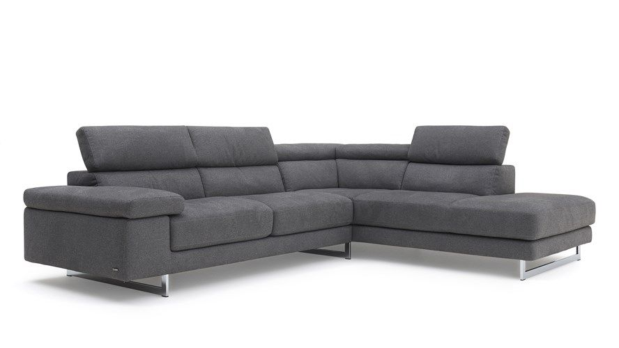 Natuzzi Editions Pisa Corner Sofa Grey Leather Corner Sofa