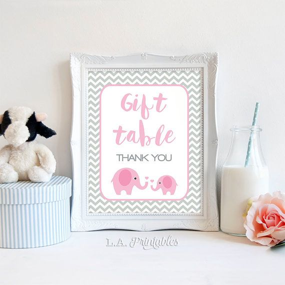 Gift table sign pink elephant baby shower gift by laprintables gift table sign pink elephant baby shower gift by laprintables negle Images