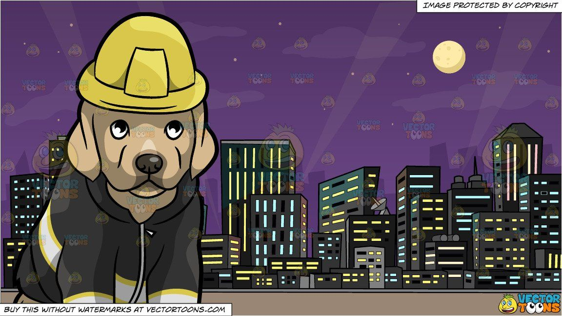 A Cute Fire Safety Puppy And A View Of The City At Night Background In 2021 Night Background Fire Safety Night City