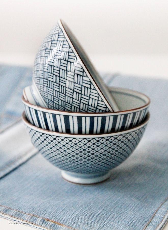 Japanische Schalen in blau - schöne Deko mit geometrischen Mustern ...