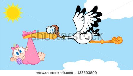 Stork Delivering A Newborn Baby Girl. Raster Illustration.Vector Version Also Available In Portfolio.