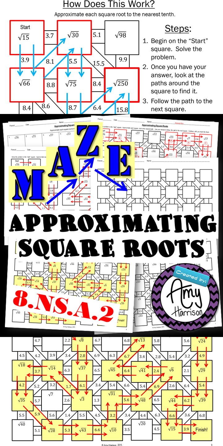 Approximating Square Roots To The Nearest Tenth Maze  Square