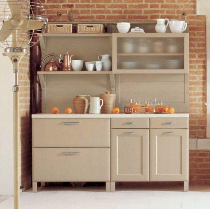 Modern Pie Kitchen Safe Brick Wall Open Brick Cream Kitchen .