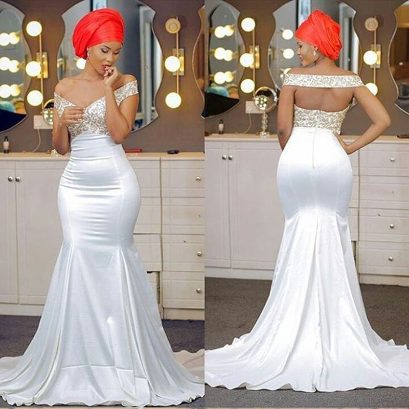 African Plus Size Gold Appliques Prom Dresses Long Mermaid Prom ...