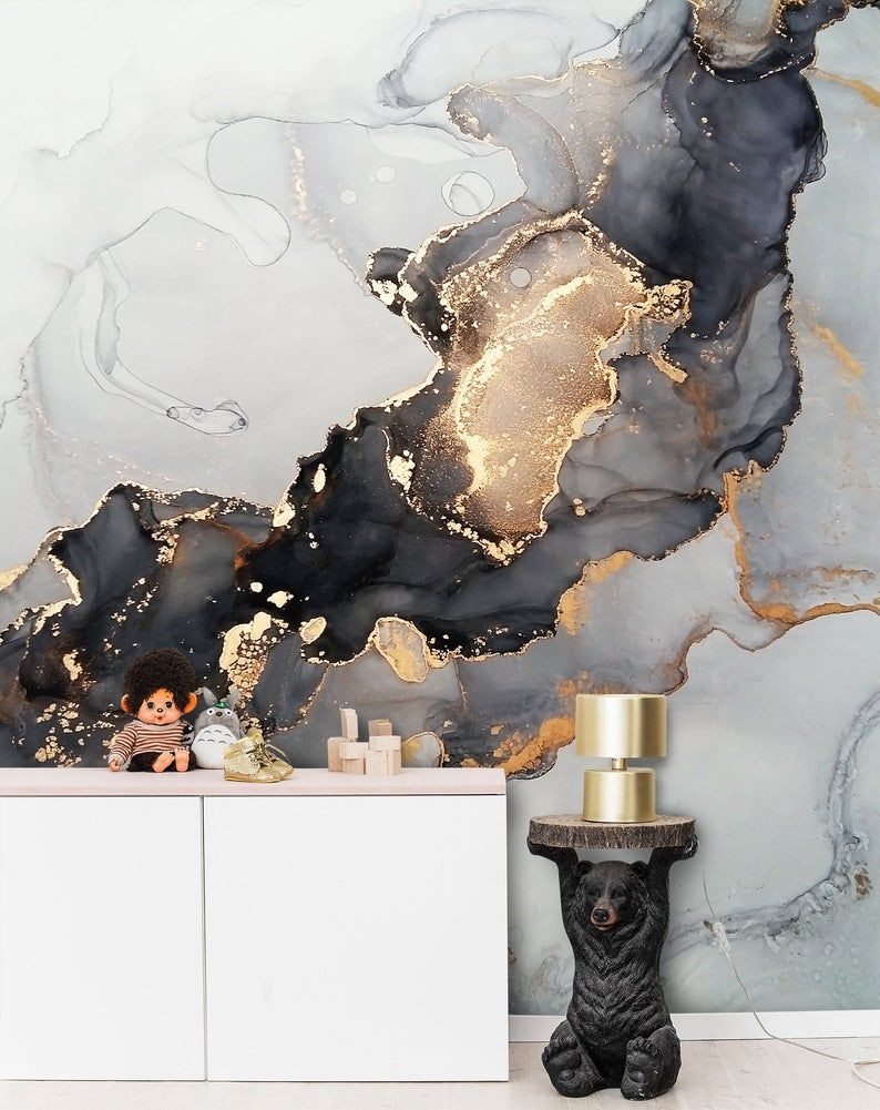 Black Grey Gold Yellow Marble Design Wallpaper Peel And Stick Natural Stone Wall Mural Living Room Stylish Modern Wall Art Easy Removable In 2021 Grey And Gold Wallpaper Yellow Marble Marble Design