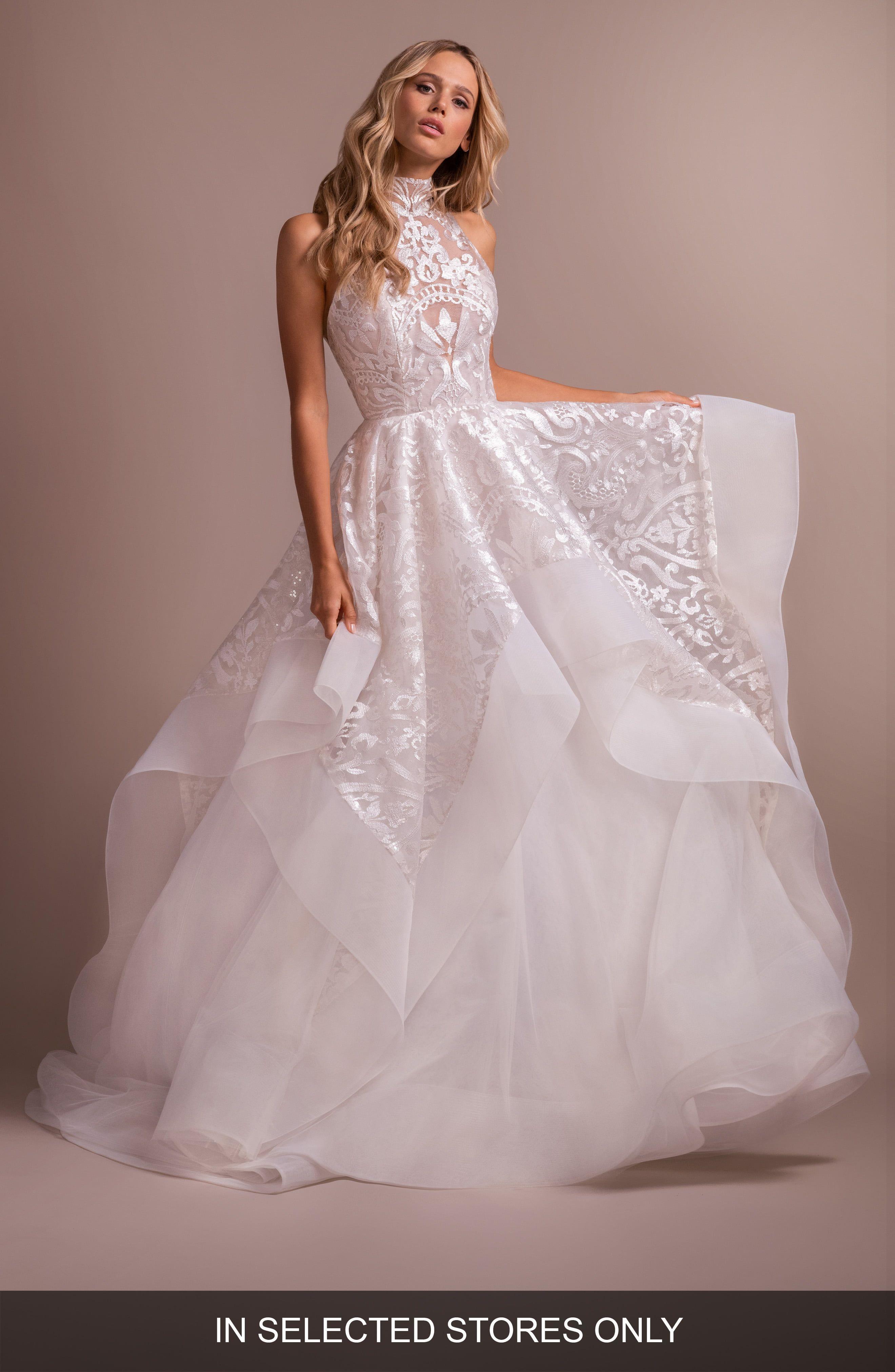 Women S Hayley Paige Kylo Embroidered Halter Wedding Dress Size