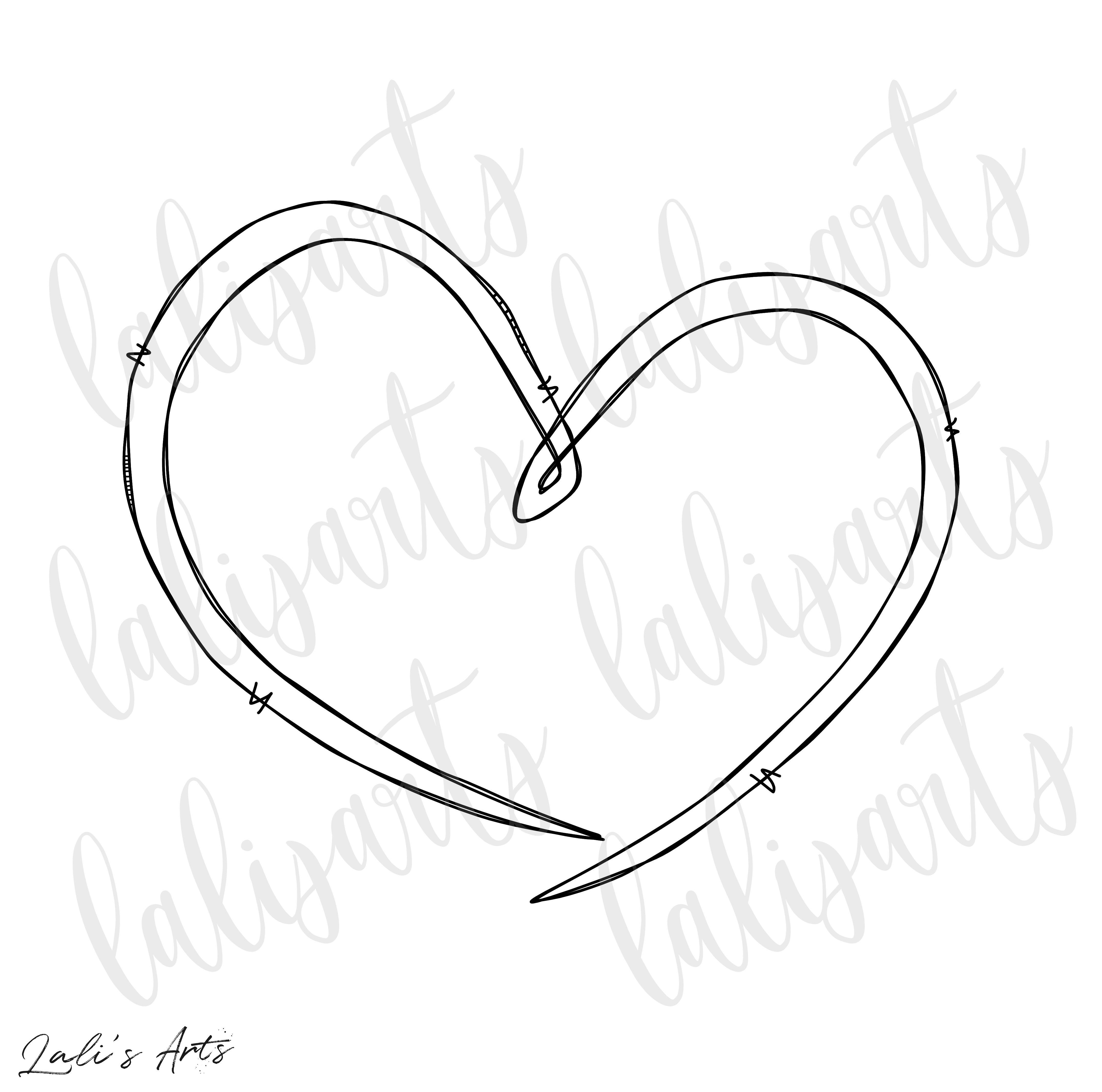Heart Doodle Clipart Png Digital Design Download Etsy Heart Doodle Clip Art Heart Tattoo Designs