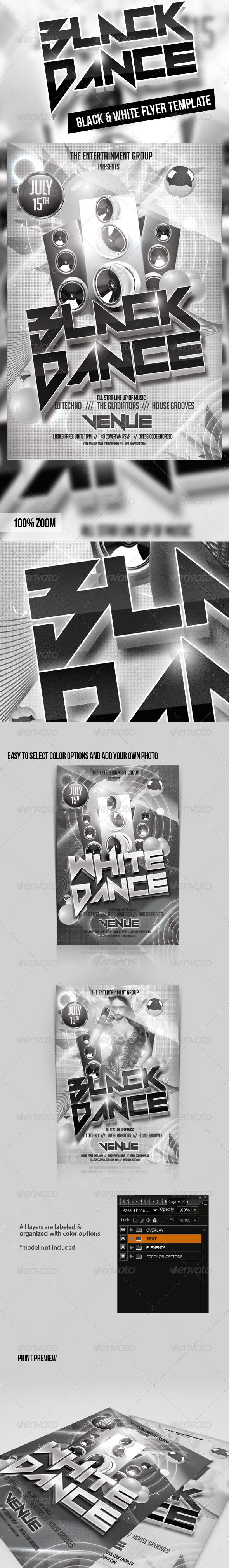 Black  White Party Flyer Template  Black White Parties Party